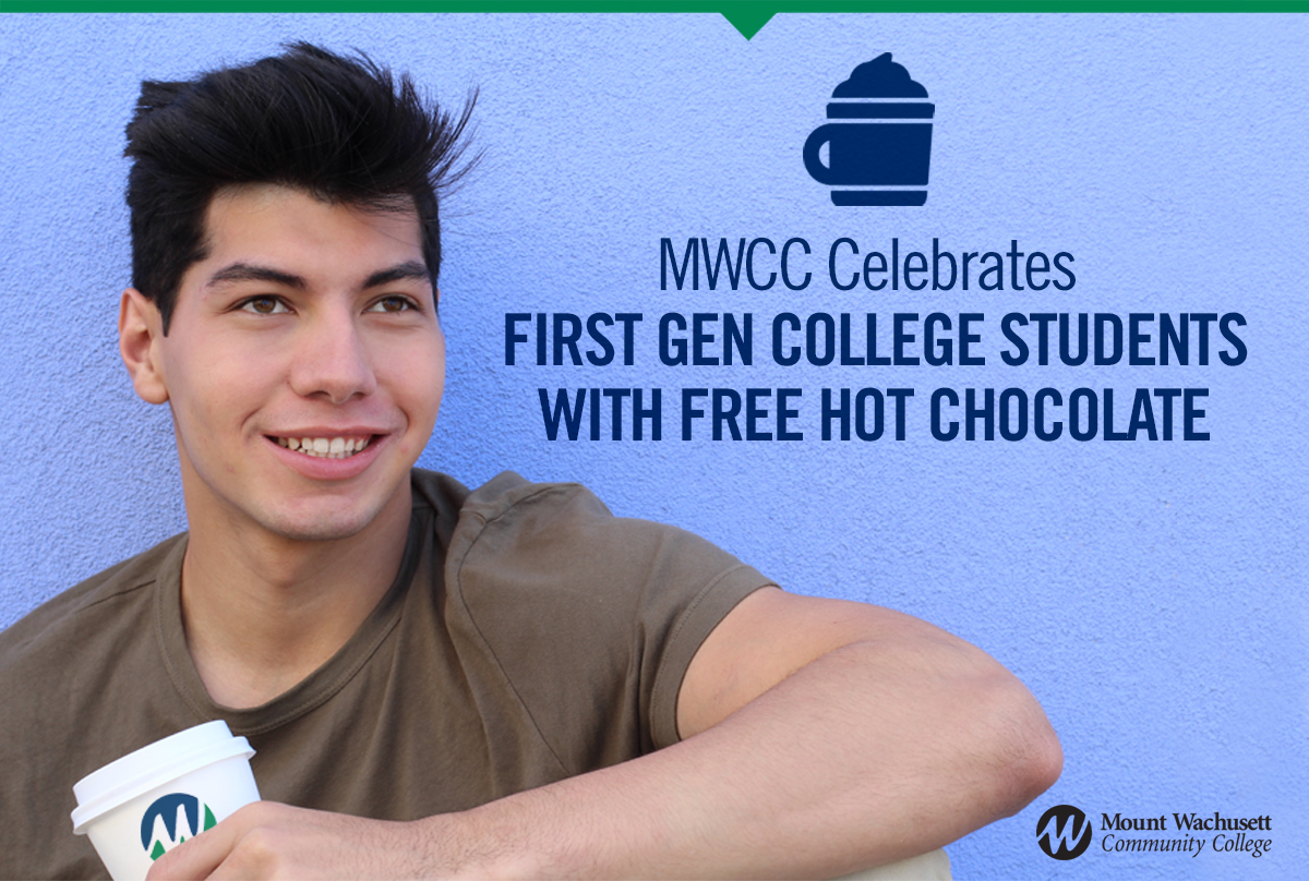 Photo of male student with hot chocolate