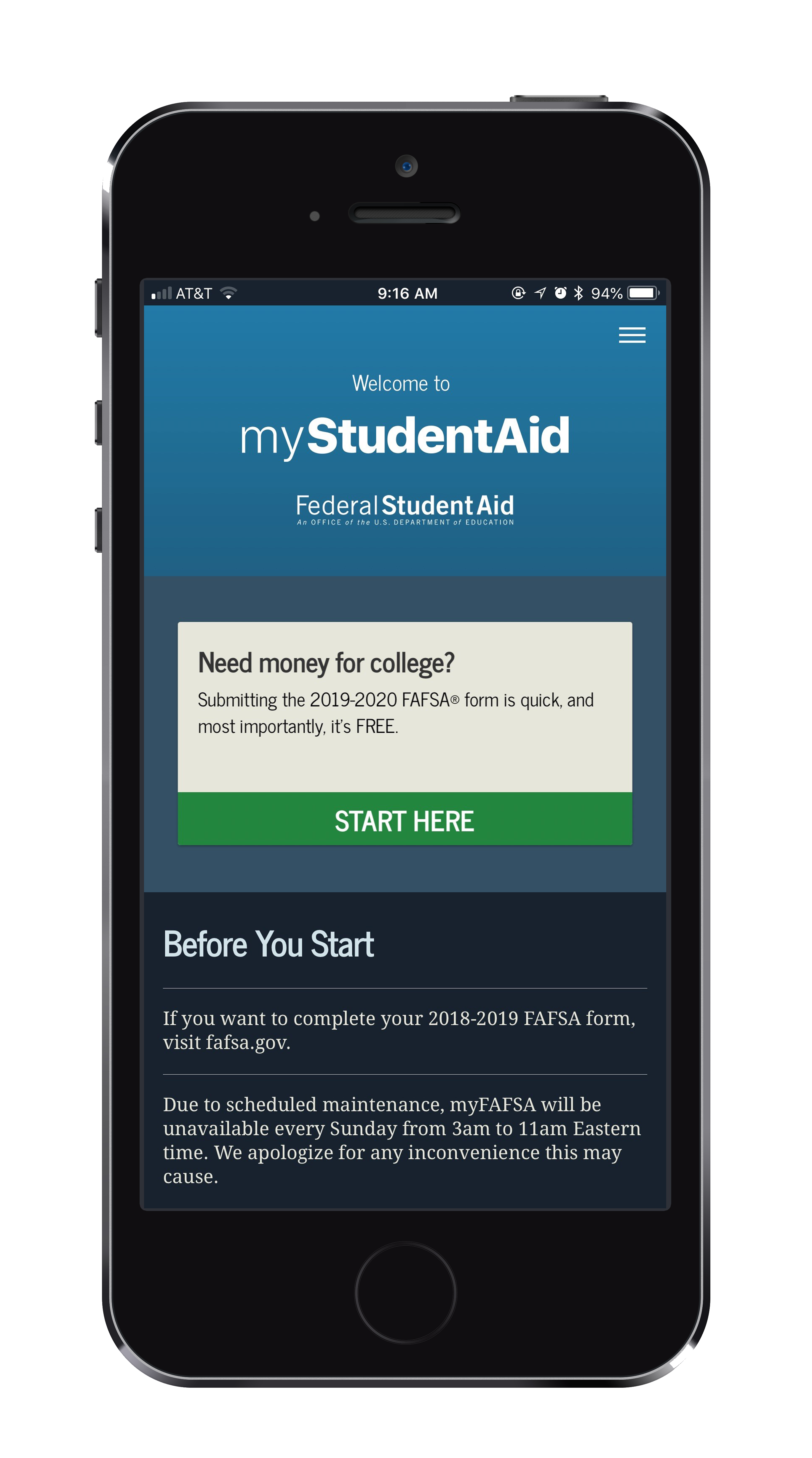 Photo of MyStudentAid app open on mobile phone