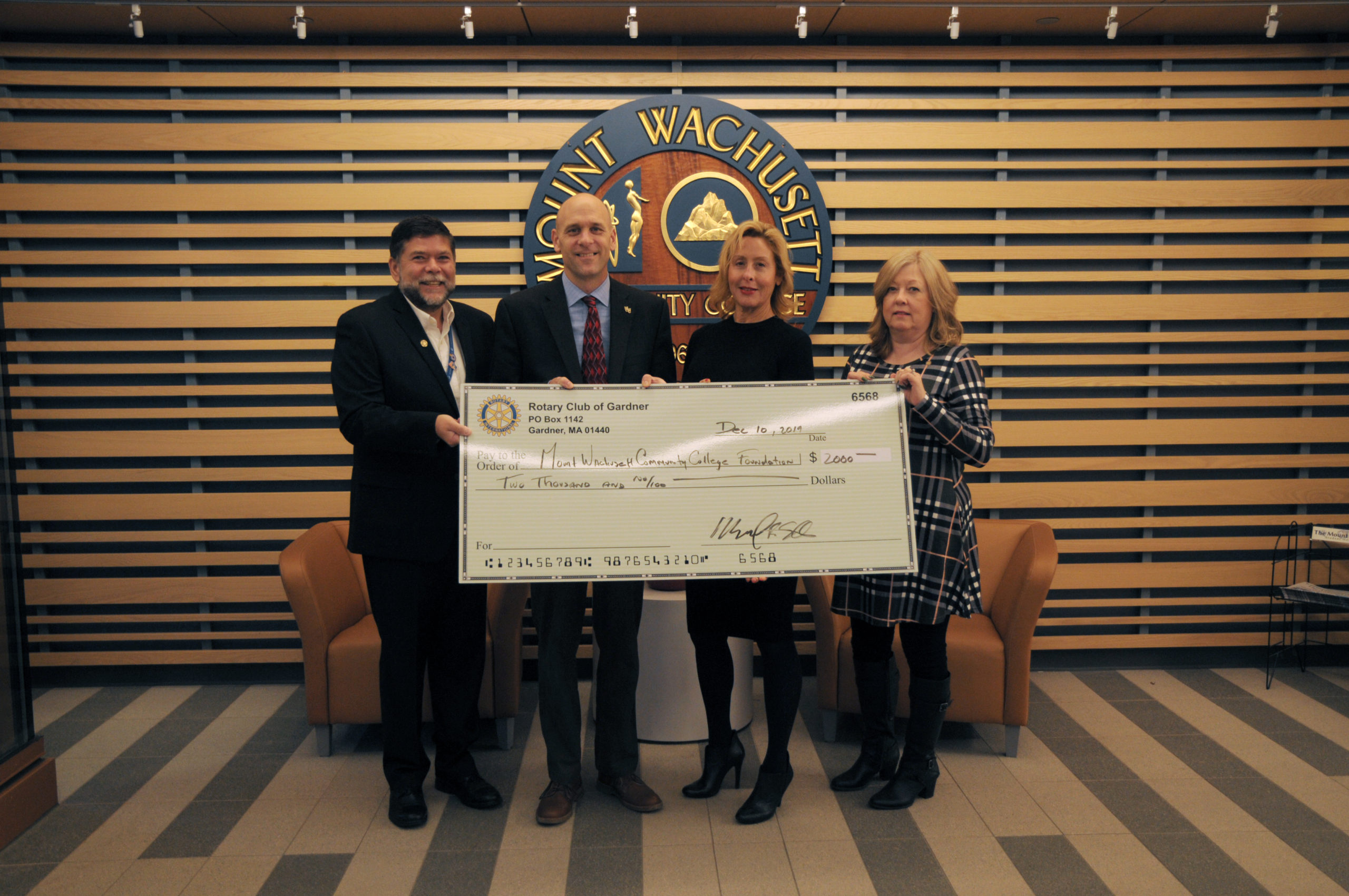 MWCC Gardner Rotary Club Donation Dec 2019
