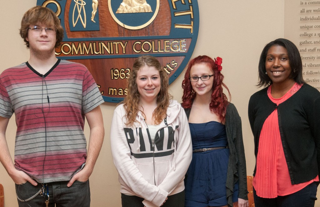 Three Murdock students with Access & Transition counselor Shaunti Phillips